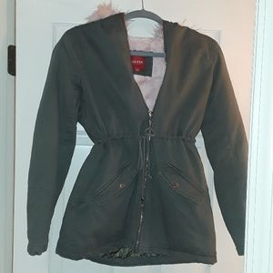 Pink Fur hood green Jacket